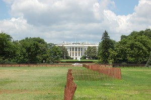 Slik ser Det Hvite Hus, om du tar bildet så nært du kommer fra baksiden