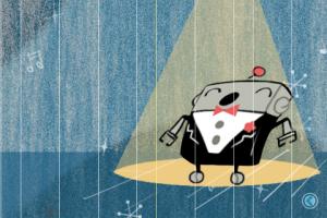 Slik kan tangentbrettet se ut. Og se søte roboten!